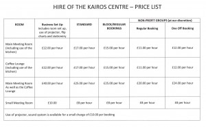 Kairos Room Hire Price List001