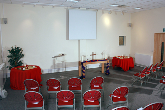 Meeting Room at the Kairos Centre as set up for worship