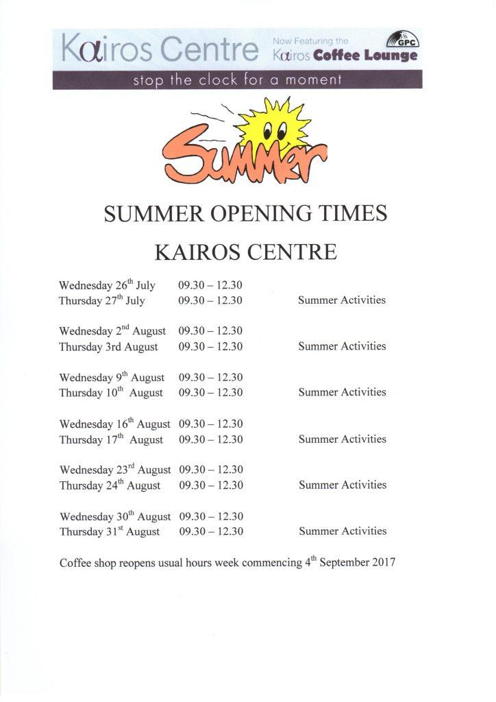 Kairos Centre Summer Opening Hours001